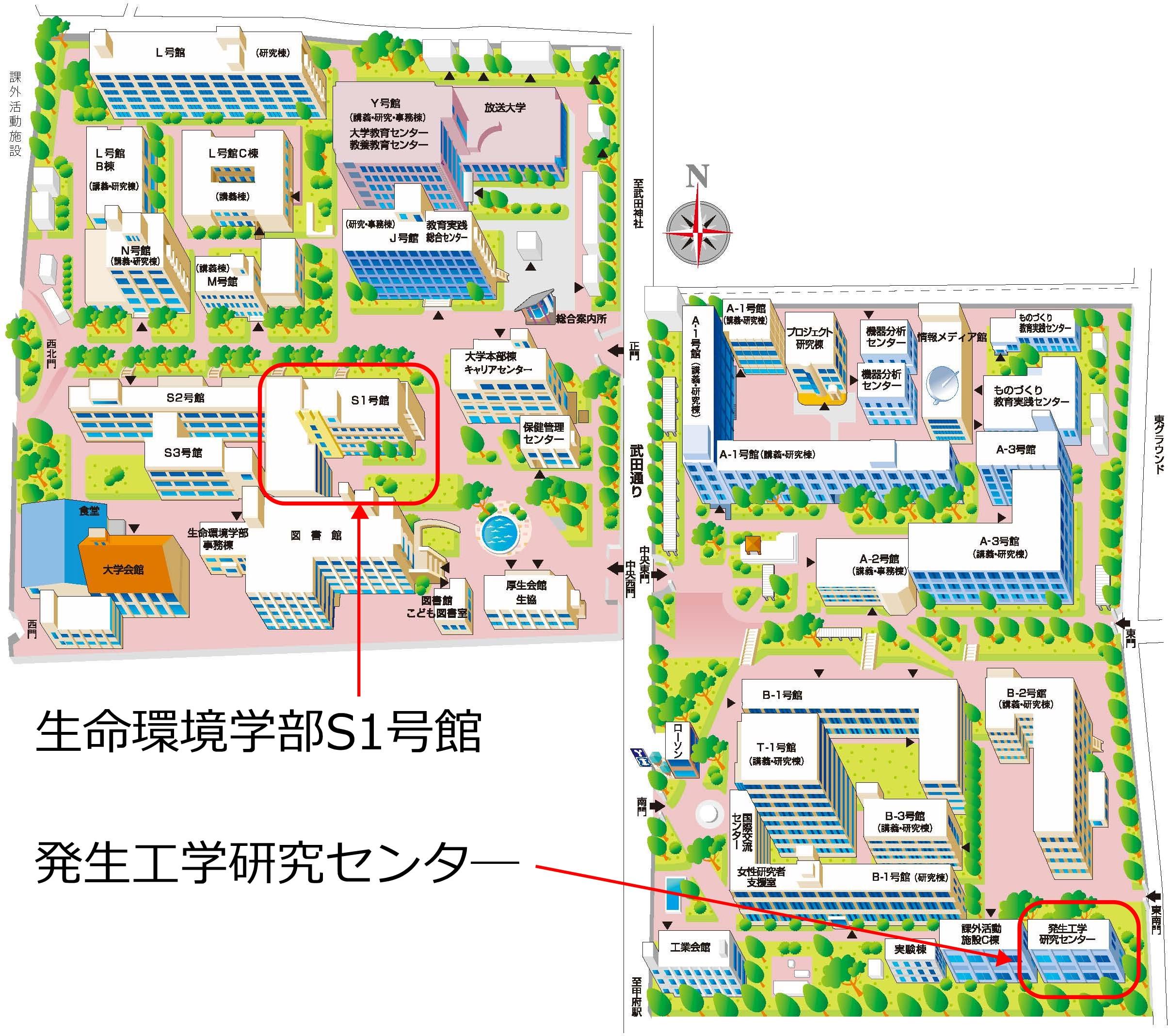 甲府東キャンパス建物配置図